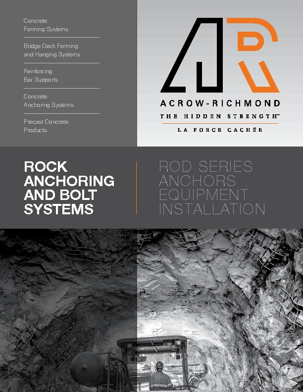 ACROW-RICHMOND ROCK ANCHORING and BOLT SYSTEMS