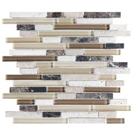Tile Glass Stone Cappuccino Linear Blend Mosaic (sheet)(10 sheet/box)