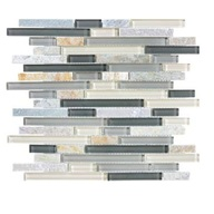 Tile Glass Quartz Silver Aspen Linear Blend Mosaic (sheet)(10 sheet/box)