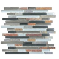 Tile Glass Slate Smoky Mica Linear Blend Mosaic (sheet)(10 sheet/box)