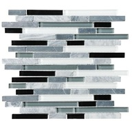 Tile Glass Stone Midnight Linear Blend Mosaic (sheet)(10 sheet/box)