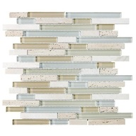 Tile Glass Stone Spa Linear Blend Mosaic (sheet)(10 sheet/box)