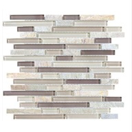 Tile Glass Quartz Cotton Wood Linear Blend Mosaic (sheet)(10 sheet/box)