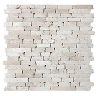 Tile Travertine Ivory F&H Mosaic Random Strip (sheet)(10/box)